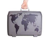 Använd plast- resväska med fläckar och skrapor Royaltyfri Fotografi