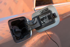 Använd ställning för Mercedes-Benz S-grupp S350 lång (W221) bil på en stree Arkivfoto