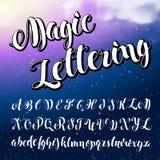 använd teknologi för ta för bilder för foto för lampa för alfabetengelskafrysning var Modern borstad bokstäver Royaltyfri Bild