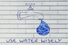Använd vatten klokt: världen i en liten droppe från klappet (med wate Royaltyfri Bild
