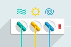 Använda av förnybara energikällor av vatten, solen och vind Royaltyfri Bild