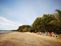 Använda färgrika däck för landskapgarnering på stranden fotografering för bildbyråer