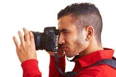 använda för man för kamera digitalt royaltyfri fotografi