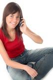 använda för telefon för flicka mobilt Royaltyfri Foto