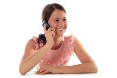 använda för telefon för flicka mobilt royaltyfri bild