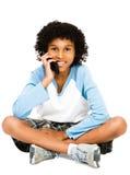 använda för telefon för pojke mobilt Arkivfoto