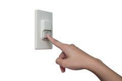 Använda fingret för att trycka på den hem- summern arkivbilder