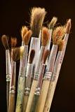 använda gammala paintbrushes Royaltyfri Fotografi