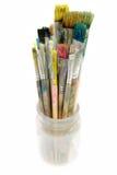 använda glass paintbrushes Arkivfoton
