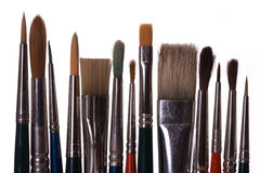 använda paintbrushes Arkivbild
