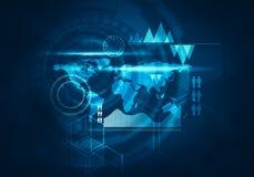Användare för handlag för affärsteknologi futuristisk blå faktisk grafisk I Royaltyfria Foton