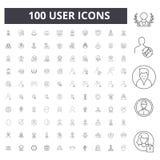 Användarelinje symboler, tecken, vektoruppsättning, översiktsillustrationbegrepp arkivfoton