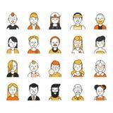 Användaresymbolsuppsättning i linjär stil Kvinnliga olika roliga tecken som är manliga och royaltyfri illustrationer