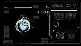 användargränssnitt för 4K UI med bakgrund för svart för tabell för ask för text för HUD pistång för cyberteknologi och futuristis vektor illustrationer