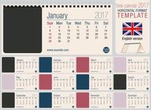 Användbar mall 2017 för skrivbordtriangelkalender Format: 220mm x 100mm stock illustrationer