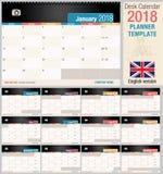 Användbar skrivbordkalender 2018 - stadsplaneraremall Horisontalformat - vektorbild stock illustrationer