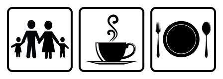 Användbar symbol för restaurang Coffee shopsymbol, mat låten symbol, familjemedlemsymbol som drar vid illustrationen royaltyfri illustrationer