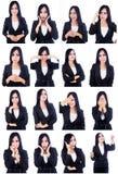 Användbara framsidor för affärskvinna Fotografering för Bildbyråer