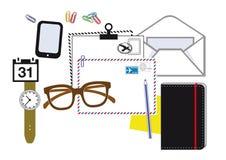 Användbara objekt för skrivbordarbete Arkivfoto
