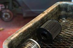 Använt olje- filter Arkivbild