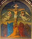 Anvers - crucifixion. Fresque dans l'église de Joriskerk ou de St George. du cent 19. Photographie stock