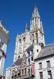 Anvers - façade du sud de cathédrale de notre Madame Image stock