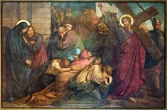 Anvers - Jésus rencontre les femmes de Jerusalems. Fresque dans l'église de Joriskerk ou de St George. du cent 19. Image libre de droits