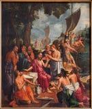 Anvers - peinture de scène de pêche de miracle par Hans van Elburcht et d'Abbrosius Francken de l'année 1560 dans la cathédrale de Photos libres de droits