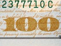 Anverso de la macro del billete de dólar de los E.E.U.U. ciento, 100 usd de billete de banco, u Foto de archivo