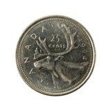 25 anverso de la moneda 1994 del centavo canadiense aislado foto de archivo