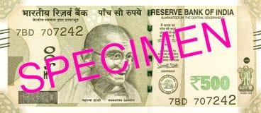 anverso del billete de banco de la rupia india 500