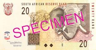 anverso del billete de banco de 20 randes sudafricanos