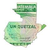 1 anverso guatemalteco del billete de banco del quetzal en la forma de Guatemala stock de ilustración