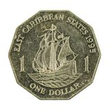 1 anverso oriental da moeda 1995 do dólar das caraíbas imagens de stock royalty free