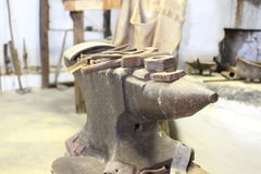 Anvil. In a blacksmith at a farmhouse Royalty Free Stock Images