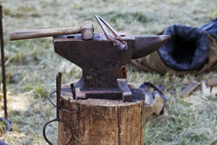 Anvil , blacksmith tools close-up Stock Images