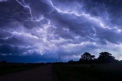 Anvil Crawler Lightning over northern Nebraska royalty free stock image
