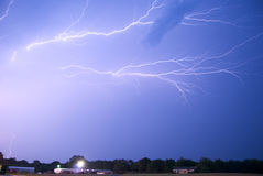Anvil Crawlers. Lightning crawls horizontally on the underside of a thunderstorm anvil Stock Photography