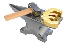 Anvil with gold euro symbol, 3D rendering Royalty Free Stock Images