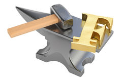 Anvil with gold franc symbol, 3D rendering Royalty Free Stock Images