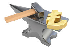 Anvil with gold lira symbol, 3D rendering Stock Images