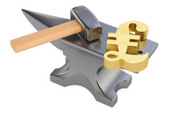 Anvil with gold pound sterling symbol, 3D rendering Stock Images