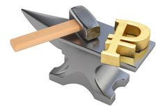 Anvil with gold ruble symbol, 3D rendering Stock Photography