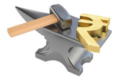 Anvil with gold rupee symbol, 3D rendering Stock Images