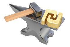 Anvil with gold shekel symbol, 3D rendering Stock Photos