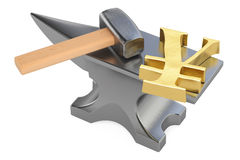 Anvil with gold yen or yuan symbol, 3D rendering Stock Photos