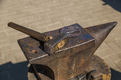 Anvil and hammer. The hammer on the anvil. Forging tool Royalty Free Stock Images