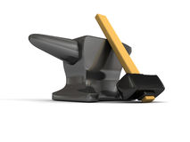 Anvil with a heavy hammer. 3d stock illustration