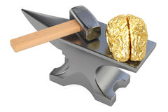 Anvil with human brain, education and knowledge concept, 3D. Anvil with human brain, education and knowledge concept Royalty Free Stock Photos