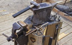 Anvil and tools stock photos